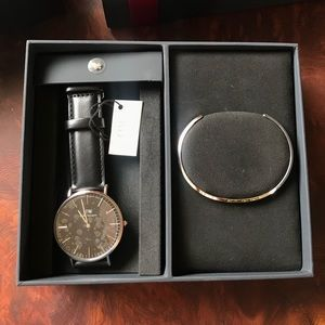Daniel Wellington Accessories - Daniel Wellington 40mm Black/Silver + Cuff + charm